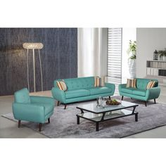 Alayna 3 pc Linen Modern Living Room Sofa set (Jade Green), Blue