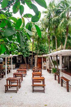 Unique open-air restaurant in Tulum, Mexico.