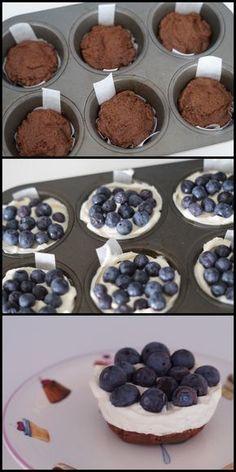 Makkelijke blauwe bessen taartjes zonder bakken - heerlijk als dessert!