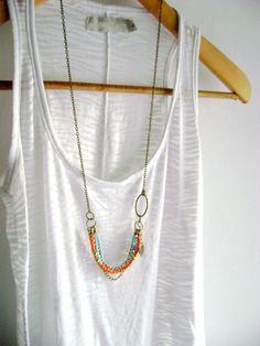 Delighted - boho chic orange turquoise golden antique bronze long necklace.