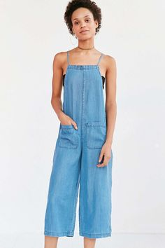 BDG Chambray Square-Neck Culotte Jumpsuit