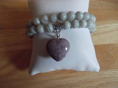 Grey agate elasticated bracelet duo
