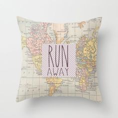 Quote Pillow Cover Run Away, Pastel Colour, Typography, Map - Home Decor, Gift Ideas, Gifts For Her, Throw Pillow Cover Only