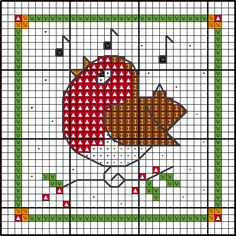 Robin Christmas card cross stitch chart