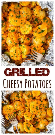 Grilled Cheesy Potatoes - the perfect side for all of your summer meals. Grilled to tenderness and covered in rich, melted cheddar cheese, these potatoes are sure to be everyone's favorite! No grill? No problem! Bbq Potatoes, Cheesy Potatoes, Barbecue Potatoes Recipe, Mashed Potatoes, Kitchen Recipes, Cooking Recipes, Healthy Recipes, Grill Recipes, Grill Meals