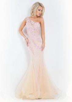2015 Appliques Sleeveless Tulle One Shoulder Floor Length Mermaid / Evening / Formal Dresses By Rachel Allan 6834