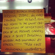 Teju Cole #litmuc13 #denkzettel