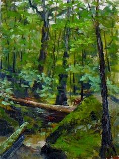 """Deer Lick Cave 12 x 9  oil on linen $300.00"" - Original Fine Art for Sale - © Vincenza Harrity"