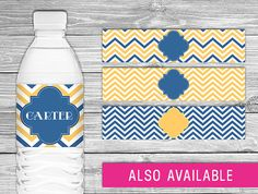 Printable Water Bottle Labels (yellow and navy baby shower, yellow and navy wedding, blue and yellow bridal shower, chevron party decor)