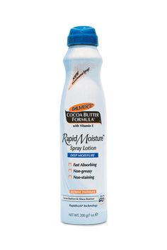 """""""I used this all during my first pregnancy to stay moisturized and keep stretch marks at bay. But I also use it on set, if one of my clients is really dry. With the lightweight spray, you can get it on the legs and body really quickly."""" Palmer's Cocoa Butter Formula Rapid Moisture Spray Lotion, $8, palmers.com."""