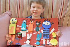 Exploring different Art Projects for Kids - we gave junk modelling a go in the style of Dutch artists Karel Appel's Questioning Children. The kids loved it.