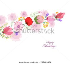 watercolor card with spring cherrys blossoms - stock photo