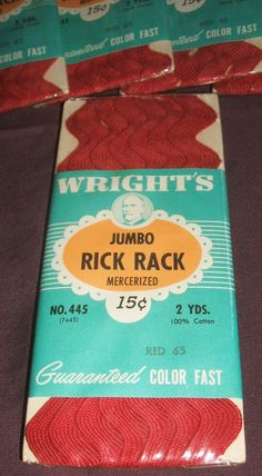 Vintage Jumbo Rick Rack 2 Yards New Unused Sewing Trim Red Cotton Craft Design Supply. A rare rick rack in red will be great for your next sewing or craft project. Perfect for those who wish to be authentic with their period designs. Brand new and still sealed; never opened or used. Purchase price is for ONE of the items pictured in the photos. I have a total of 7 available, as seen in the photos. When they are gone, they are gone for good. $3.99.
