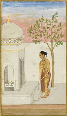A Lady Going to Worship at a Lingam Shrine. Illustrated and illuminated album page, Gouache heightened with gold on paper, India, Mughal, ca. 1700