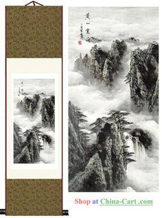 Handmade Chinese Silk Painting - Huangshan Mountain