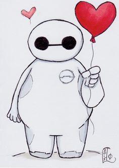 ORIGINAL ART - Baymax with Balloon by Lady Otaku, original marker sketch on 3.5X5 card
