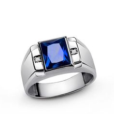 Men's Ring Sterling Silver with Blue Sapphire Gemstone and Diamonds Mens Gemstone Rings, Sterling Silver Diamond Rings, Mens Silver Rings, Silver Man, Silver Diamonds, 925 Silver, Gemstone Jewelry, Sapphire And Diamond Band, Sapphire Gemstone