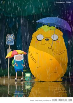 Adventure time and My Neighbor Totoro crossover. BTW My Neighbor Totoro is a really good Japanese movie it's not actually in Japanese it's by the makers of The Secret World Of Ariette and Ponyo. I will admit I am a big nerd for anime! Finn Jake, Abenteuerzeit Mit Finn Und Jake, Hayao Miyazaki, Jake Le Chien, Cartoon Network, Anime Disney, Anime Quotes Tumblr, Anime Pokemon, Adveture Time