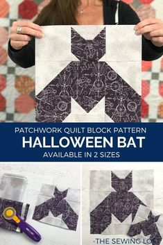 Add this Halloween inspired Bat quilt block to your Halloween themed quilting projects. Easy to make block is available in 2 finished sizes and is a patchwork construction. #quilting #HalloweenDIY #learntoquilt #blocks2quilt Halloween Quilts, Halloween Bats, Halloween Themes, Fall Sewing Projects, Quilting Projects, Quilting Designs, Sewing Patterns Free, Quilt Patterns, Free Sewing