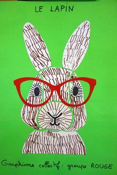 Graphisme collectif, lapin façon puzzle, Petite section, EM Pfoeller, Christine Fristot