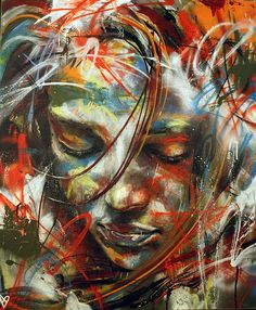 "Street Art-David Walker uses spray paint to create beautiful graffiti portraits. He works under self-imposed constraints such as ""no brushes"" and the results are quite stunning. David Walker, Walker Art, Gif Kunst, Pintura Graffiti, Street Art Graffiti, Graffiti Face, Oeuvre D'art, Urban Art, Love Art"