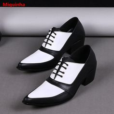 Miquinha British Black and White Mixed Color Lace Up Pointed Toe Men Leather Shoes Breathable Men Casual Dress Buiness Shoes