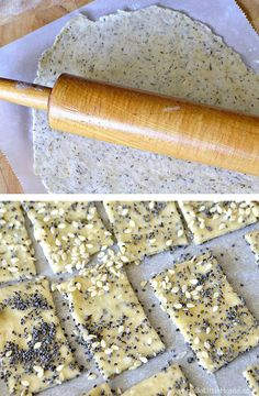 Learn how to make homemade crackers! This Herb Parmesan Crackers recipe couldn't be simpler to make. Parmesan Crackers Recipe, Recipe For Homemade Crackers, Appetizer Recipes, Snack Recipes, Cooking Recipes, Appetizers, Savoury Biscuits, Seasoned Crackers, Snacks