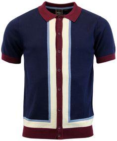 - Merc 'Rainham' Retro 1960s Mod Mens stripe panel knitted polo in navy. - Short sleeve Mod polo.