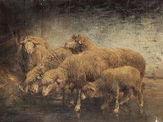 Heinrich von Zügel, Sheep in a Barn, 1885