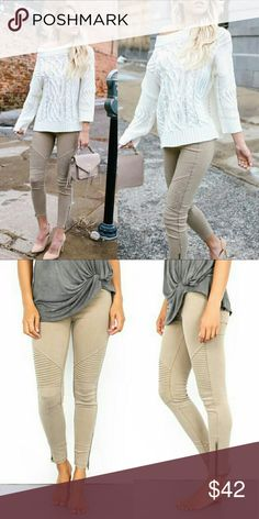 Khaki Moto Jegging with Ankle Zipper Khaki Moto Jegging with Ankle Zipper.  Super stretchy. Elastic waistband.  Picture color varies due to studio lighting and outside lighting.  65% Cotton / 35% Nylon / 5% spandex   ■ PRICE IS FIRM ■ Pants Leggings