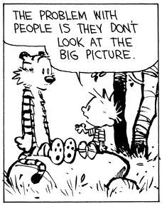 Calvin and Hobbes, The Big Picture (1 of 4 DA) - The problem with people is they don't look at the big picture.