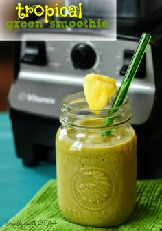 getting serious about blenders (plus a sunny green smoothie recipe! Green Smoothie Recipes, Tropical, Blenders, Fruit, How To Make, Plant, Food, Eten, Planters