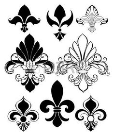 Buy Set of Fleur De Lis by on GraphicRiver. Set of artistically painted, isolated, black Fleur de Lis on a white AI, PSD and JPEG files are inc. Flur De Lis Tattoo, Tattoo Fleur, Stencil Art, Stencil Designs, Stencils, Coat Of Arms, Vector Pattern, Royalty Free Images, Illustration
