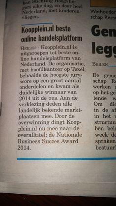 Leuk stukje in de Krant van Midden-Drenthe over dat Koopplein.nl is uitgeroepen tot de beste marktplaats van Nederland. Binnenkort ook te zien op RTL7. http://koopplein.nl/middendrenthe/4665164/kooppleinnl-de-nummer-1-handelsplaats-2014-van-nederland.html