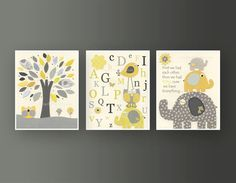 Kids Wall Art Nursery Decor // Baby Boy Room Art // Set of 3 8x10 // Nursery Wall Art Decor // Yellow Gray // Elephant, ABC, Alphabet. $43.00 on sale until 11/18