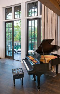 Home Design, Fascinating Lake House Interior Furniture Old Piano On Living Room ~ Luxury Lake House with Ancient House Design