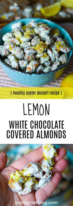 Spring has sprung, and these Lemon White Chocolate Almonds are fit for the season. They feature a coating of lemon-spiked creamy white chocolate along with a burst of lemon zest. Chef Recipes, Grilling Recipes, Appetizer Recipes, Sweet Recipes, Cooking Recipes, Appetizers, Chocolate Covered Almonds, White Chocolate Chips, Healthy Sweets