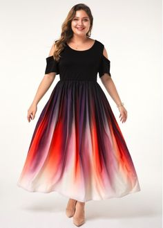 Women'S Plus Size Cold Shoulder Dress Half Sleeve Maxi Gradient Ombre Dip Dye Casual Dress By Rosewe Plus Size Cold Shoulder Half Sleeve Gradient Plus Size Cocktail Dresses, Plus Size Dresses, Plus Size Outfits, Dresses For Sale, Dresses Online, Tulle Skirt Plus Size, Trendy Dresses, Vestidos Plus Size, Pink Outfits