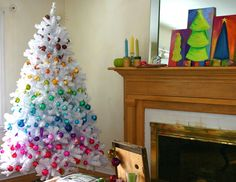 white colorful christmas tree - would be fun in the basement!