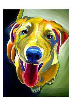 Colorful Pet Portrait Labrador Dog Art Print 20x30 by dawgpainter, $45.00