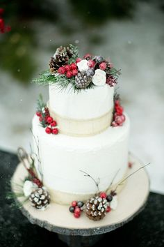 Pinecones and Cranberries: Decorate your wedding cake like you would a Christmas tree! The pinecones, greenery and cranberries, with just a dust of snow, will make perfect wedding cake toppers. Creative Winter Wedding Cake Toppers for a Winter Wonderlan Christmas Wedding Cakes, Winter Wedding Decorations, Winter Wedding Cakes, Winter Weddings, Christmas Wedding Dresses, Christmas Tree Cake, Winter Cakes, Cake Decorations, Spring Wedding
