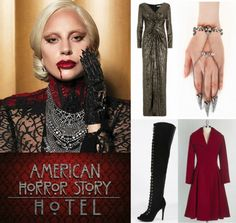 The pop star plays The Countess, a vampire-like bloodsucking fashionista who rules The Hotel Cortez. Description from fashionnstyle.com. I searched for this on bing.com/images