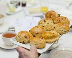 #Afternoontea with Barbara Taylor Bradford at #RuddingPark, #Harrogate. Warm #scones were served with jam and clotted cream.