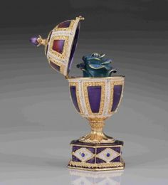 Blue Faberge Egg with Blue Rose Inside