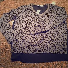 Ann Taylor LOFT sweater NWT women's Loft sweater- black and grey leopard print with solid black sheer back. Size small = SO CUTE! LOFT Sweaters V-Necks
