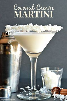 Coconut Cream Martini - This one be fun for a Christmas party. Just add red or green food coloring to the coconut flakes!