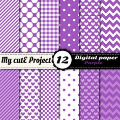 Digital paper pack  Purple   Instant Download  by Mycuteproject