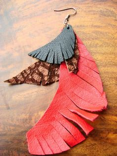 leather upcycled feathers