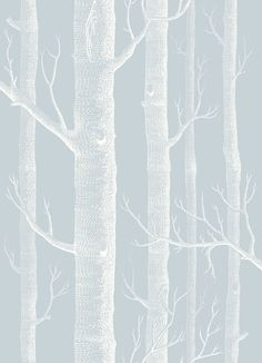 Woods Powder Blue wallpaper by Cole & Son, the perfect soft wallpaper for a Scandi look in any room.