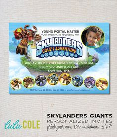 #Skylanders #GIANTS Personalized PHOTO Birthday Party by lulucole, $10.00